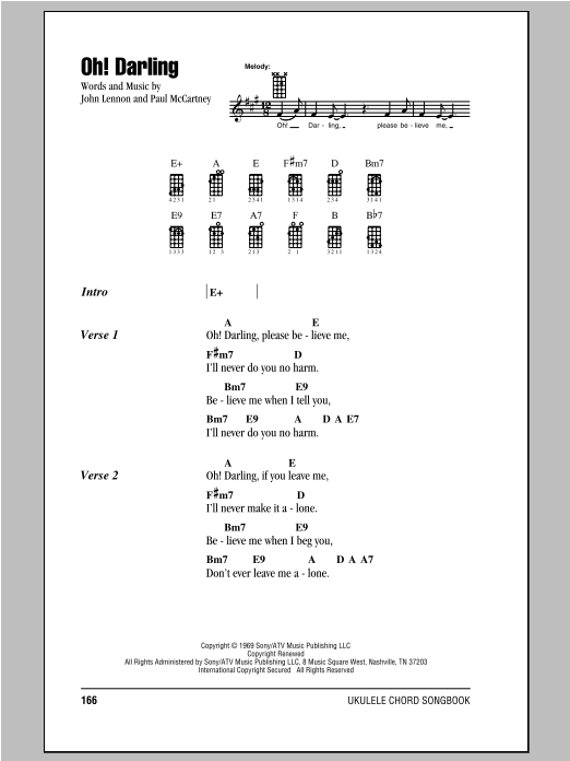 Tablature guitare Oh! Darling de The Beatles - Ukulele (strumming patterns)