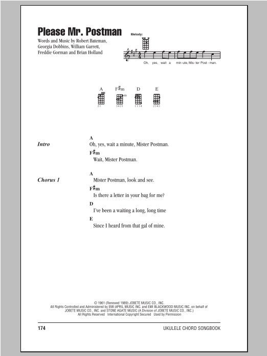 Tablature guitare Please Mr. Postman de The Beatles - Ukulele (strumming patterns)