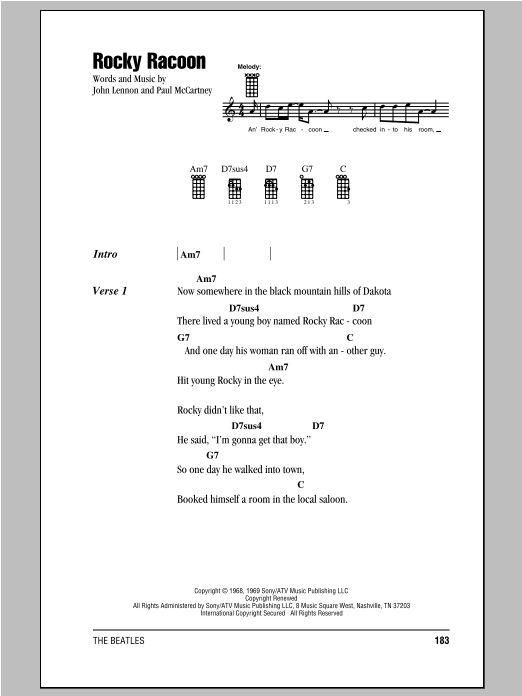 Rocky Raccoon Sheet Music