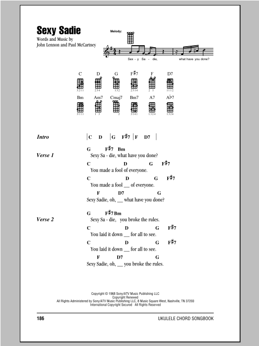 Tablature guitare Sexy Sadie de The Beatles - Ukulele (strumming patterns)
