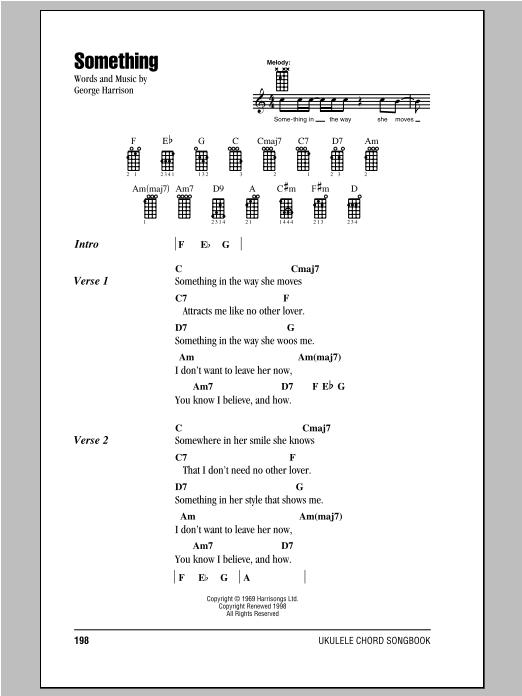 Tablature guitare Something de The Beatles - Ukulele (strumming patterns)