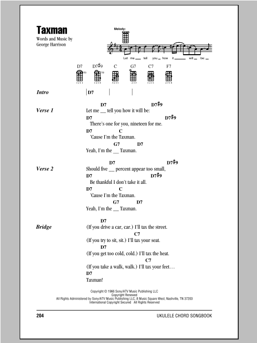 Taxman Sheet Music By The Beatles Ukulele With Strumming Patterns