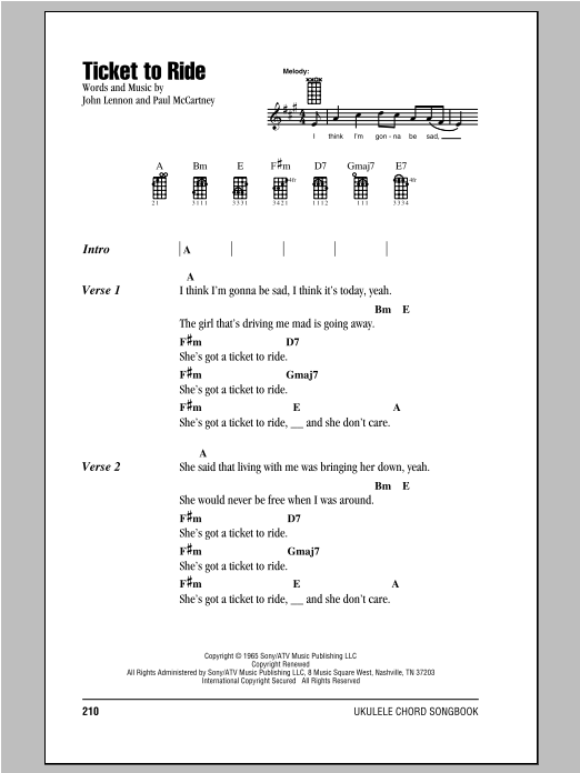 Tablature guitare Ticket To Ride de The Beatles - Ukulele (strumming patterns)