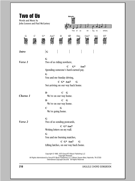 Tablature guitare Two Of Us de The Beatles - Ukulele (strumming patterns)