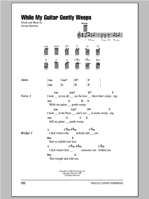 While My Guitar Gently Weeps Sheet Music The Beatles Ukulele