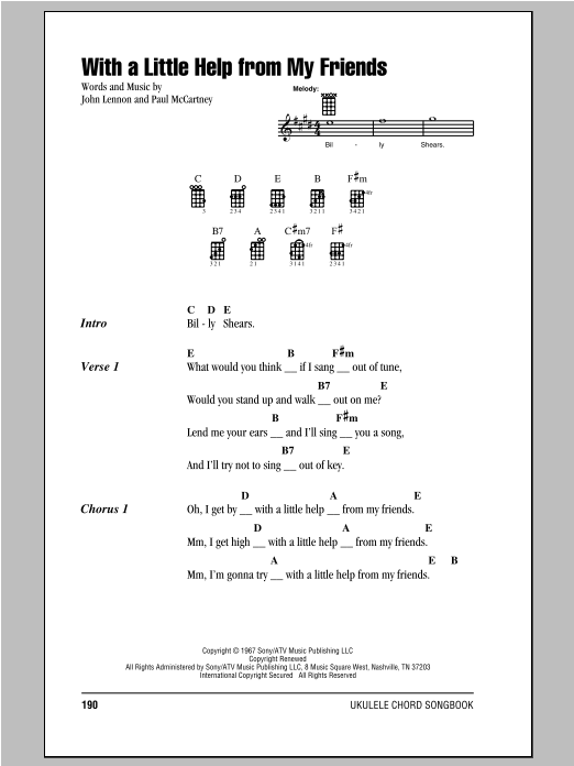 Tablature guitare With A Little Help From My Friends de The Beatles - Ukulele (strumming patterns)