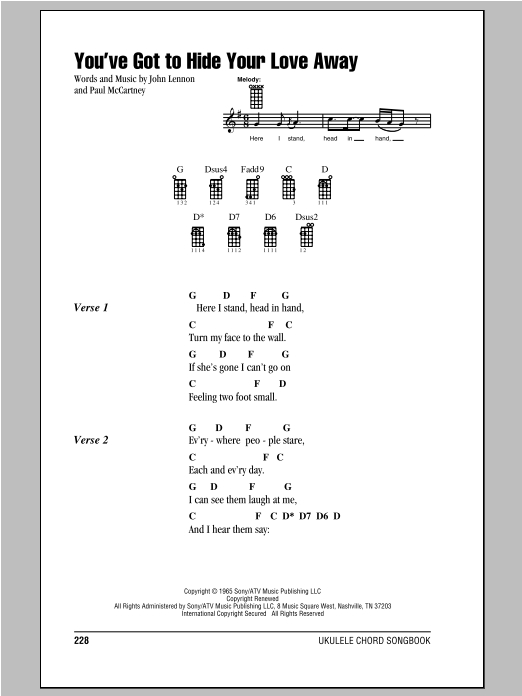 Tablature guitare You've Got To Hide Your Love Away de The Beatles - Ukulele (strumming patterns)