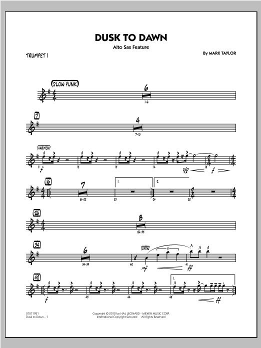 Dusk To Dawn (Solo Alto Sax Feature) - Trumpet 1 Sheet Music