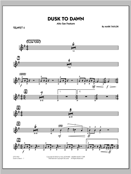 Dusk To Dawn (Solo Alto Sax Feature) - Trumpet 4 Sheet Music