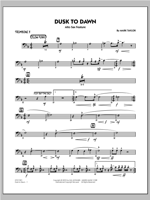 Dusk To Dawn (Solo Alto Sax Feature) - Trombone 3 Sheet Music