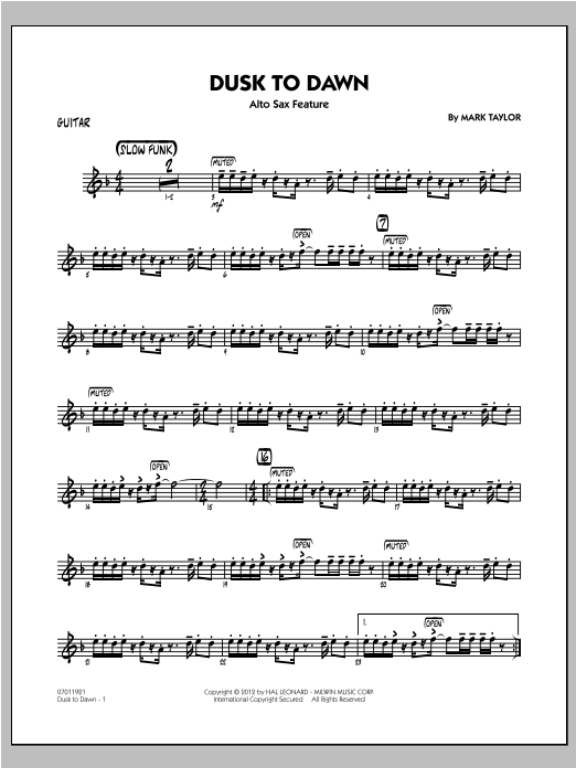 Dusk To Dawn (Solo Alto Sax Feature) - Guitar Sheet Music