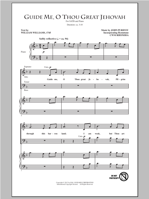 Partition chorale Guide Me, O Thou Great Jehovah de John Purifoy - SATB