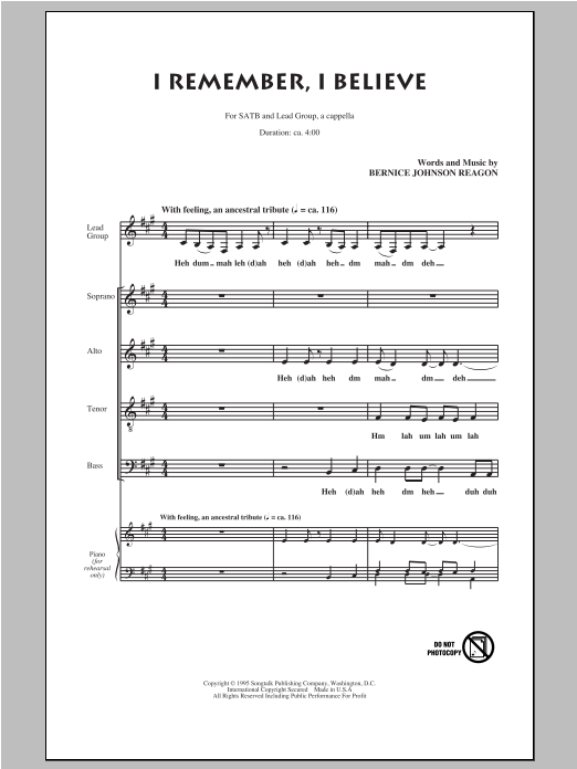 I Remember, I Believe (SATB Choir)