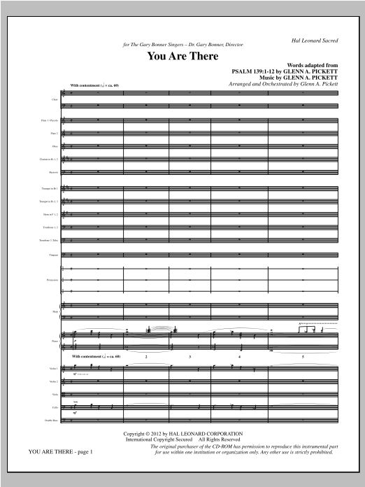 You Are There (complete set of parts) sheet music for orchestra/band (Orchestra) by Glenn Pickett. Score Image Preview.