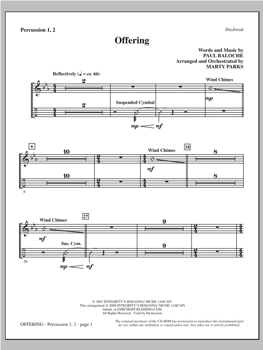 Offering - Percussion 1 & 2 Sheet Music
