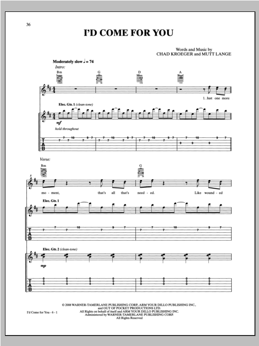 Tablature guitare I'd Come For You de Nickelback - Tablature Guitare