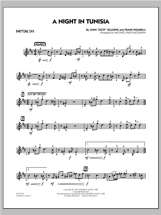 A Night In Tunisia - Baritone Sax Sheet Music