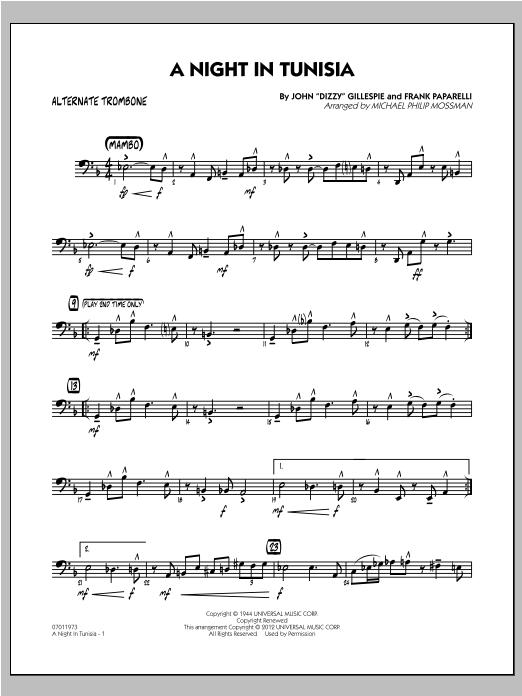 A Night In Tunisia - Alternate Trombone Sheet Music