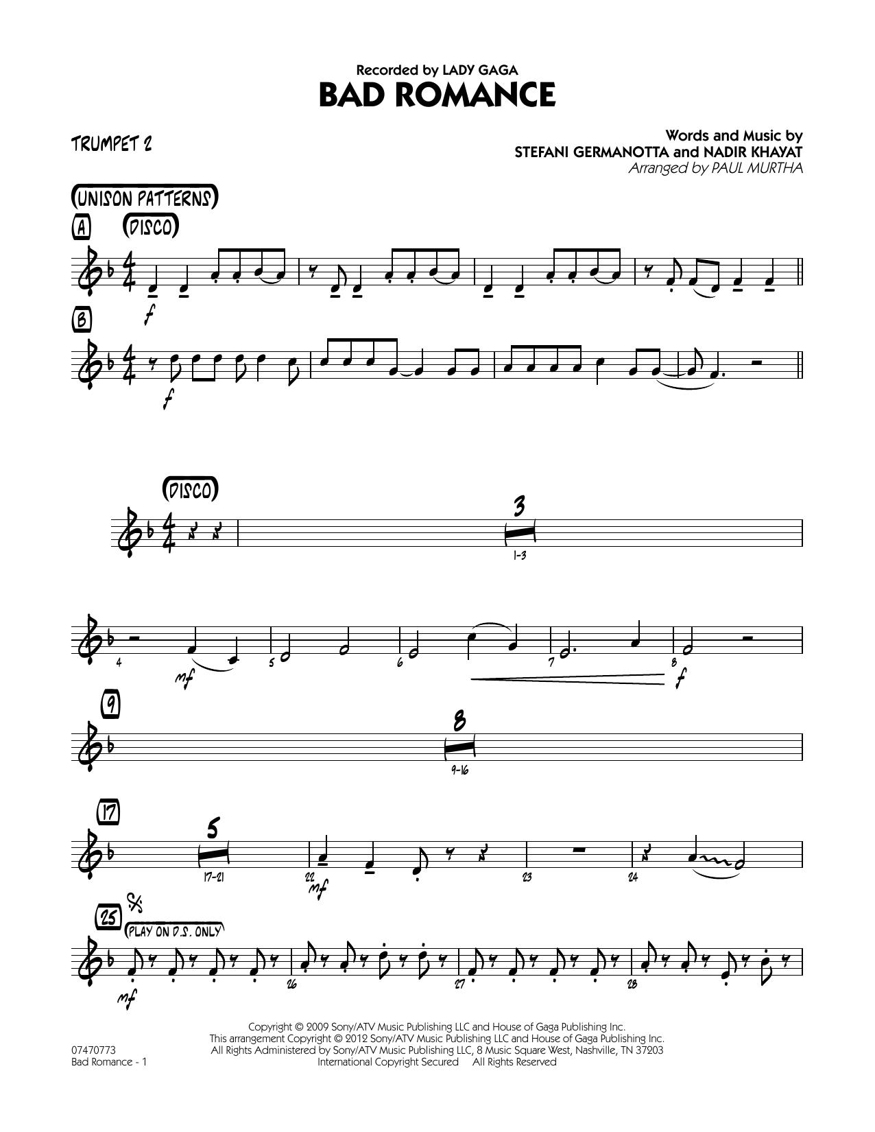 Bad Romance - Trumpet 2 Sheet Music