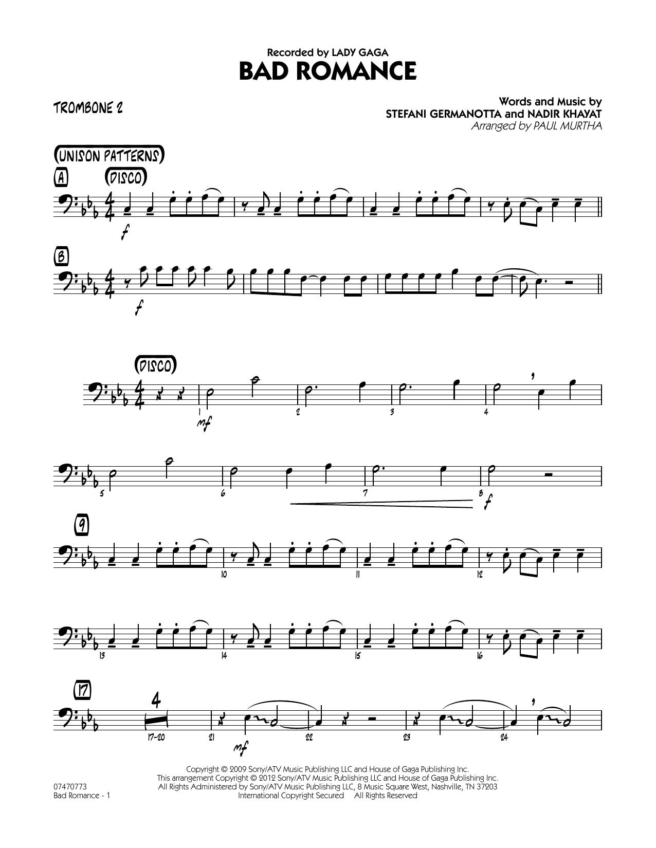 Bad Romance - Trombone 2 Sheet Music