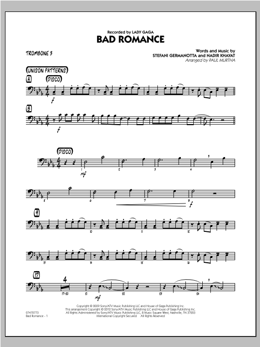 Bad Romance - Trombone 3 Sheet Music