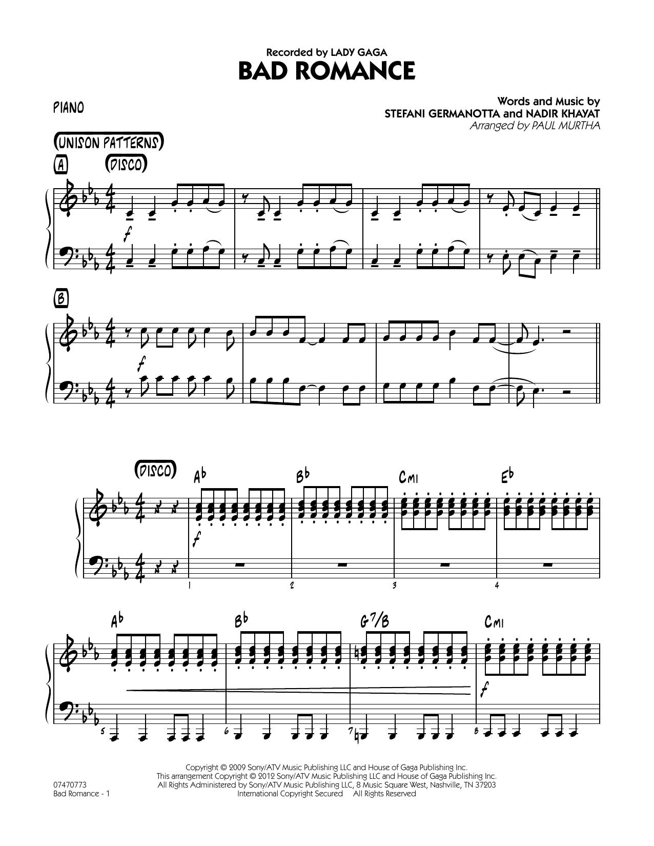 Bad Romance - Piano Sheet Music