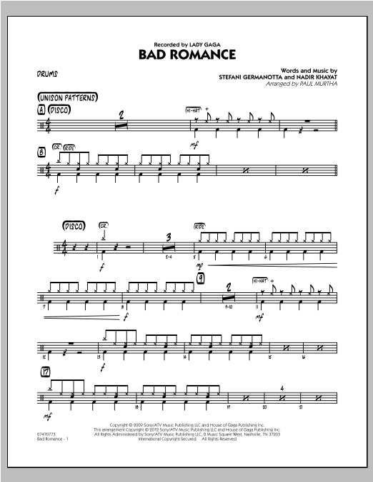 Bad Romance - Drums Sheet Music