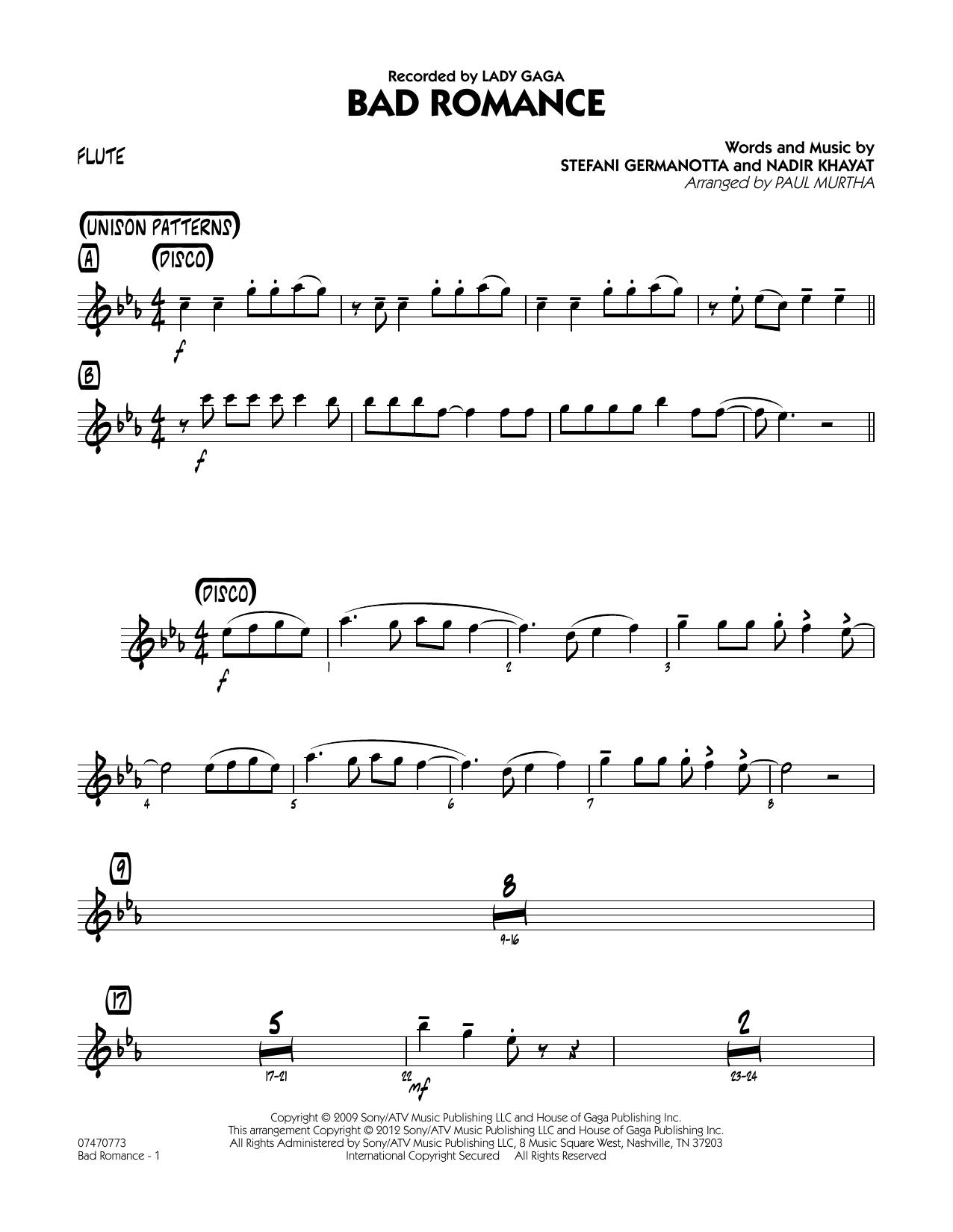 Bad Romance - Flute Sheet Music