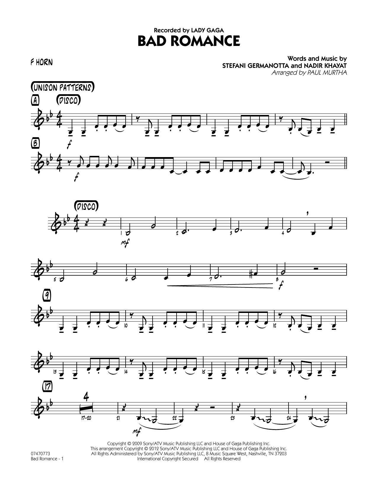 Bad Romance - F Horn Sheet Music