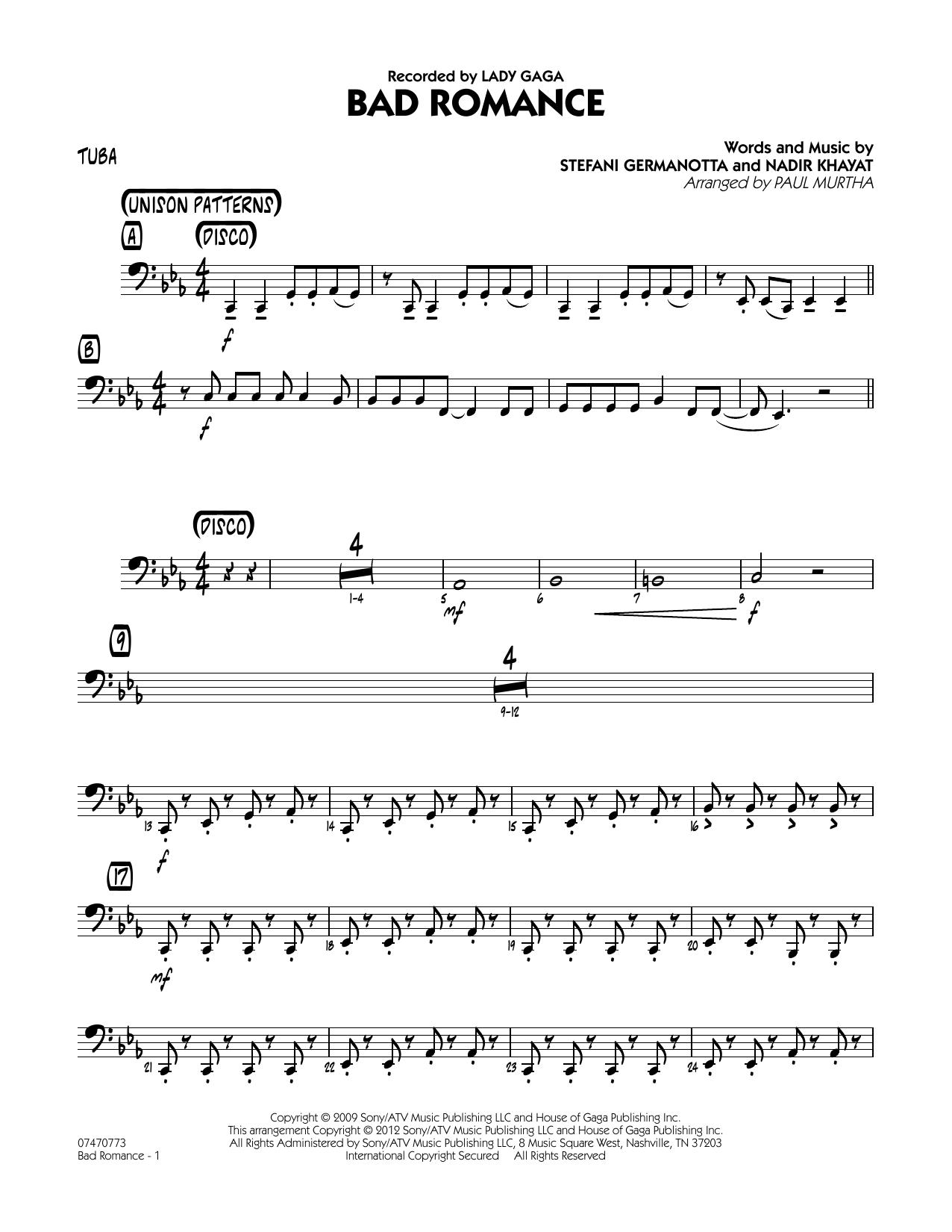 Bad Romance - Tuba Sheet Music