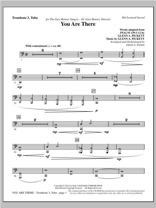 You Are There - Trombone 3/Tuba Sheet Music