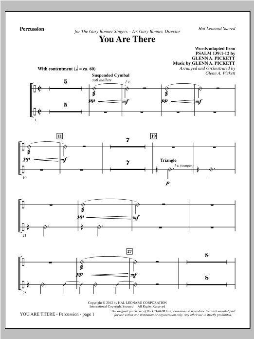 You Are There - Percussion Sheet Music