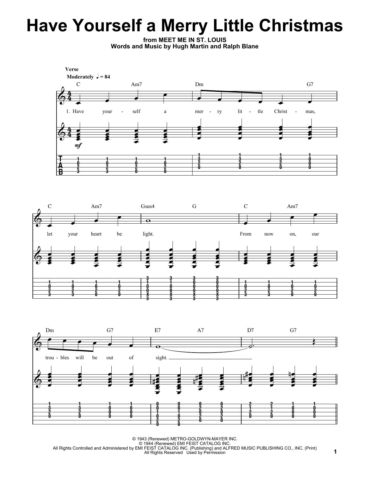Have Yourself A Merry Little Christmas (Easy Guitar Tab)