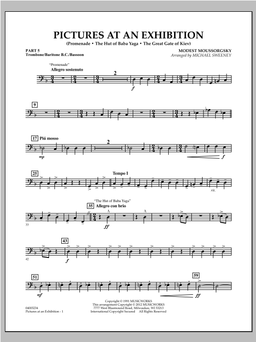 Pictures At An Exhibition (Excerpts) - Pt.5 - Trombone/Bar. B.C./Bsn. Sheet Music