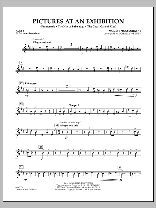 Pictures At An Exhibition (Excerpts) - Pt.5 - Eb Baritone Saxophone Sheet Music