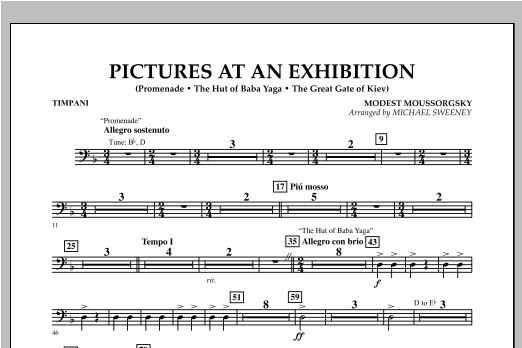 Pictures At An Exhibition (Excerpts) - Timpani Sheet Music