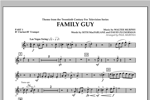 Family Guy (Theme) - Pt.1 - Bb Clarinet/Bb Trumpet Sheet Music
