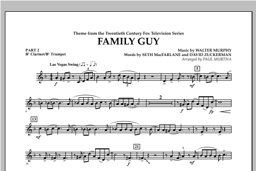 Family Guy (Theme) - Pt.2 - Bb Clarinet/Bb Trumpet Sheet Music