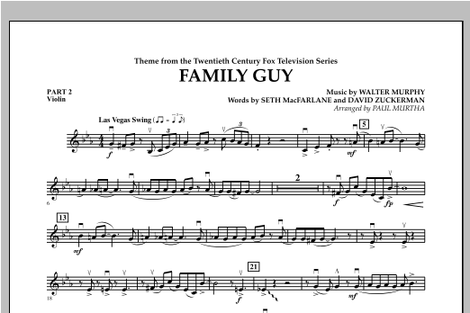 Family Guy (Theme) - Pt.2 - Violin Sheet Music
