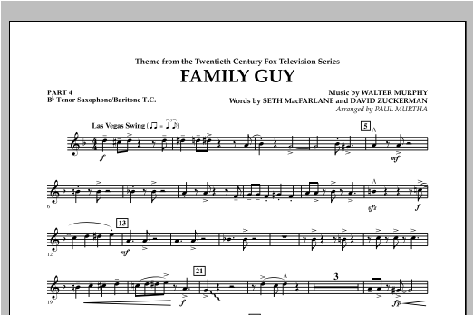 Family Guy (Theme) - Pt.4 - Bb Tenor Sax/Bar. T.C. Sheet Music
