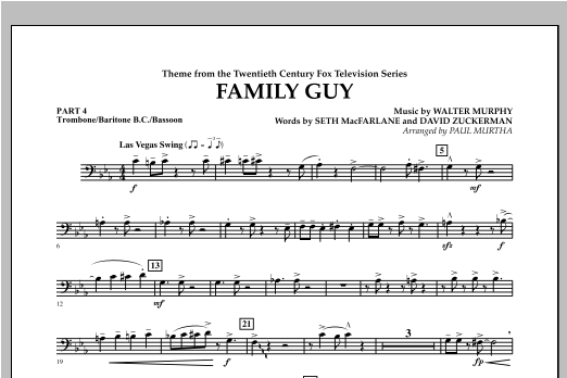 Family Guy (Theme) - Pt.4 - Trombone/Bar. B.C./Bsn. Sheet Music
