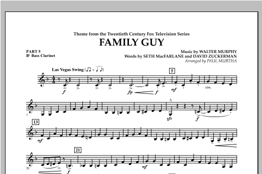 Family Guy (Theme) - Pt.5 - Bb Bass Clarinet Sheet Music