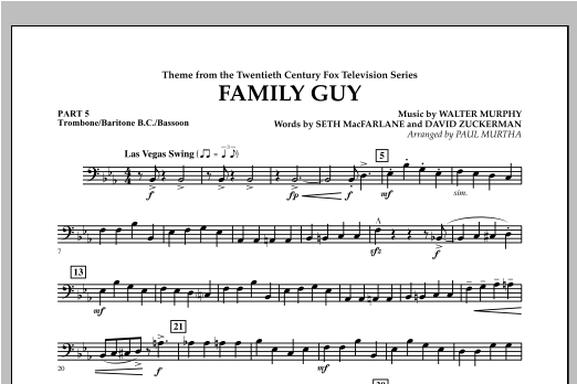 Family Guy (Theme) - Pt.5 - Trombone/Bar. B.C./Bsn. Sheet Music