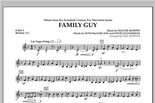 Family Guy (Theme) - Pt.5 - Baritone T.C. Sheet Music