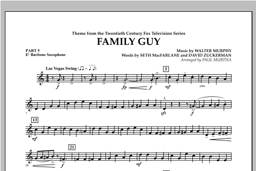 Family Guy (Theme) - Pt.5 - Eb Baritone Saxophone Sheet Music