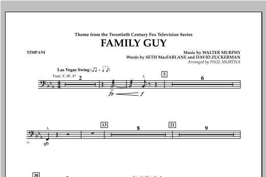 Family Guy (Theme) - Timpani Sheet Music