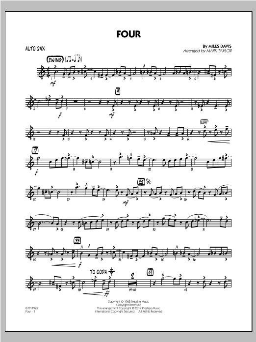 Four - Alto Sax Sheet Music