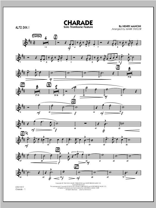 Charade (Solo Trombone Feature) - Alto Sax 1 Sheet Music