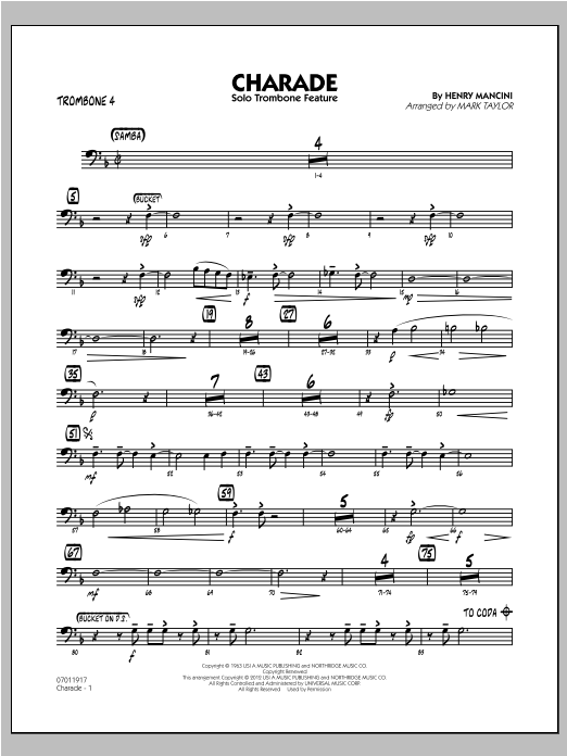 Charade (Solo Trombone Feature) - Trombone 4 Sheet Music
