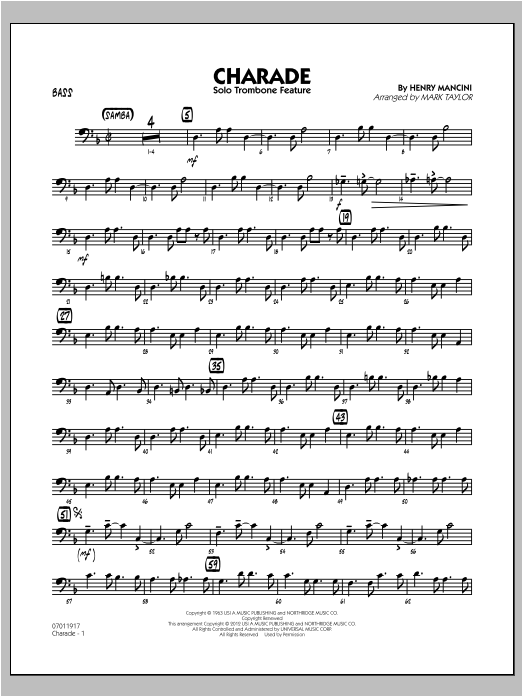 Charade (Solo Trombone Feature) - Bass Sheet Music